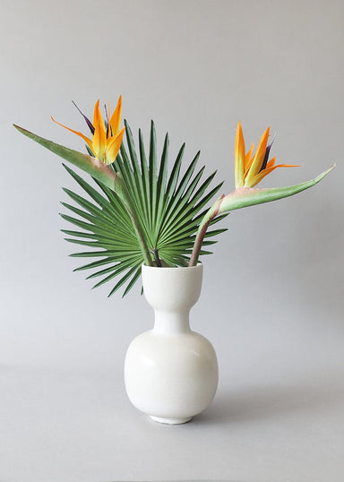 Tropical Faux Flowers in White Modern Vase