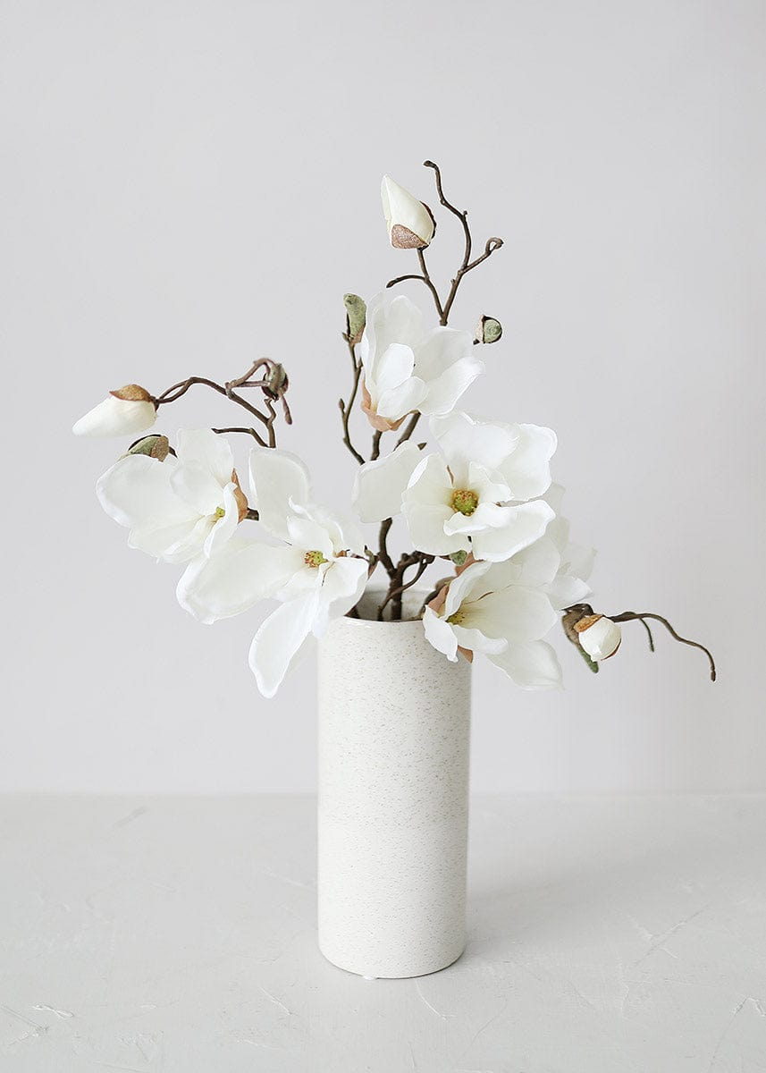 Fake Magnolia in White in Cylinder Vase