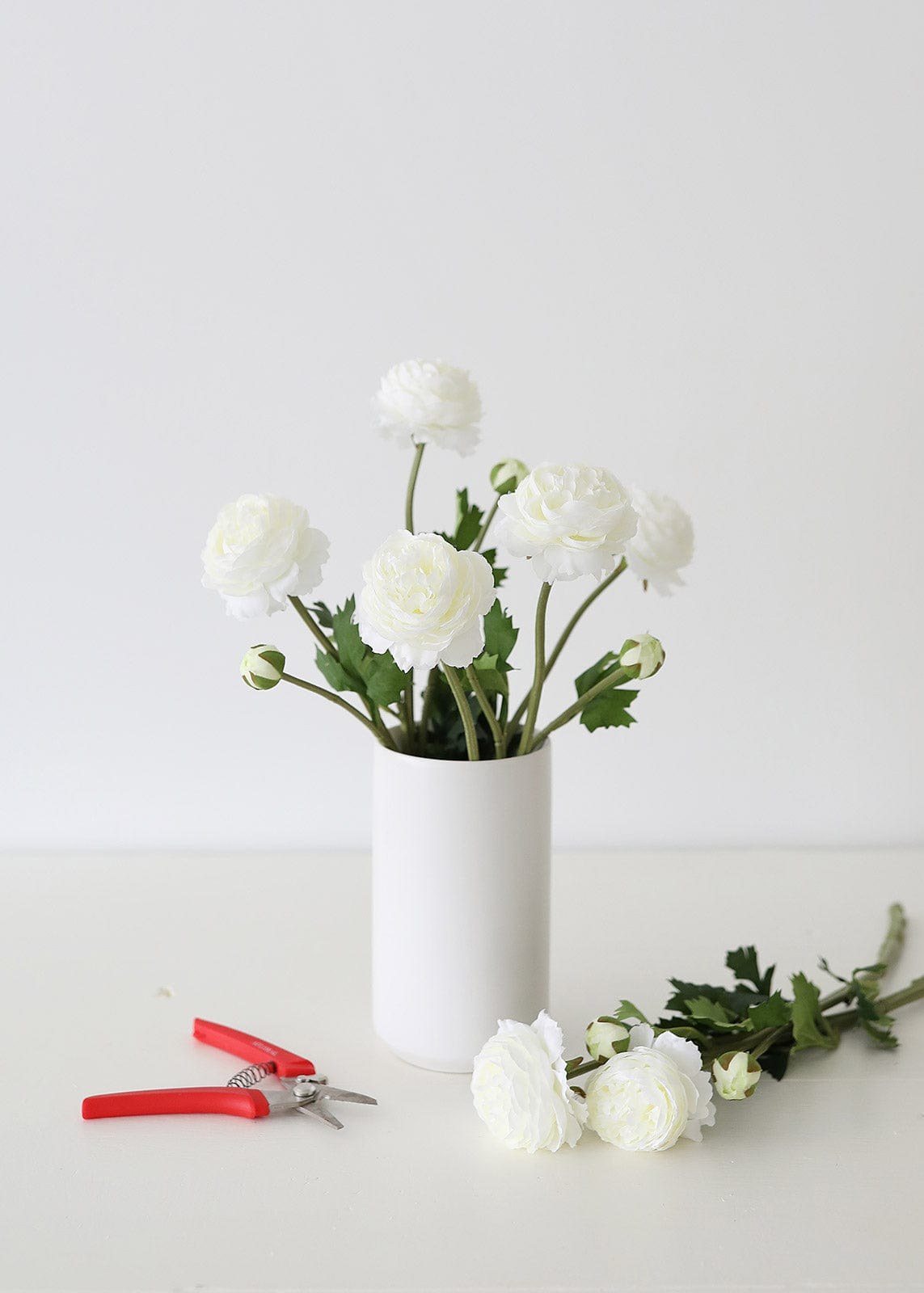 White Flower Arrangement with Floral Shears