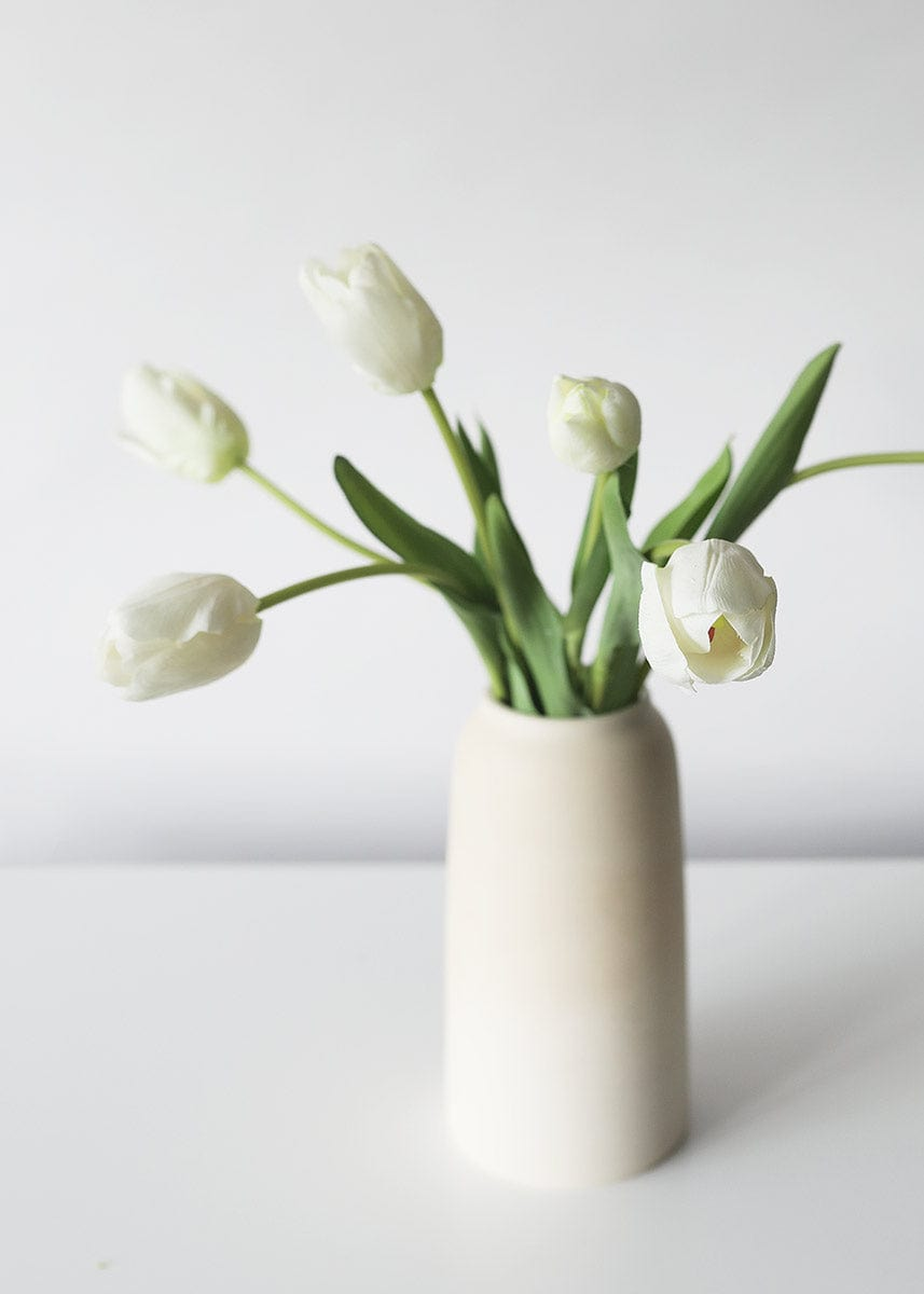 White Real Touch Tulips in Stoneware Vase