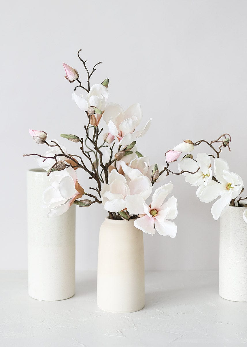 Blush Pink Silk Magnolias in Vase