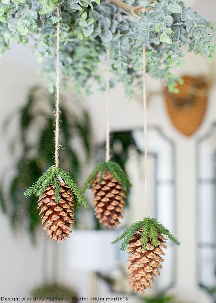 DIY Holiday Floral Chandelier with Artificial Pine Cones