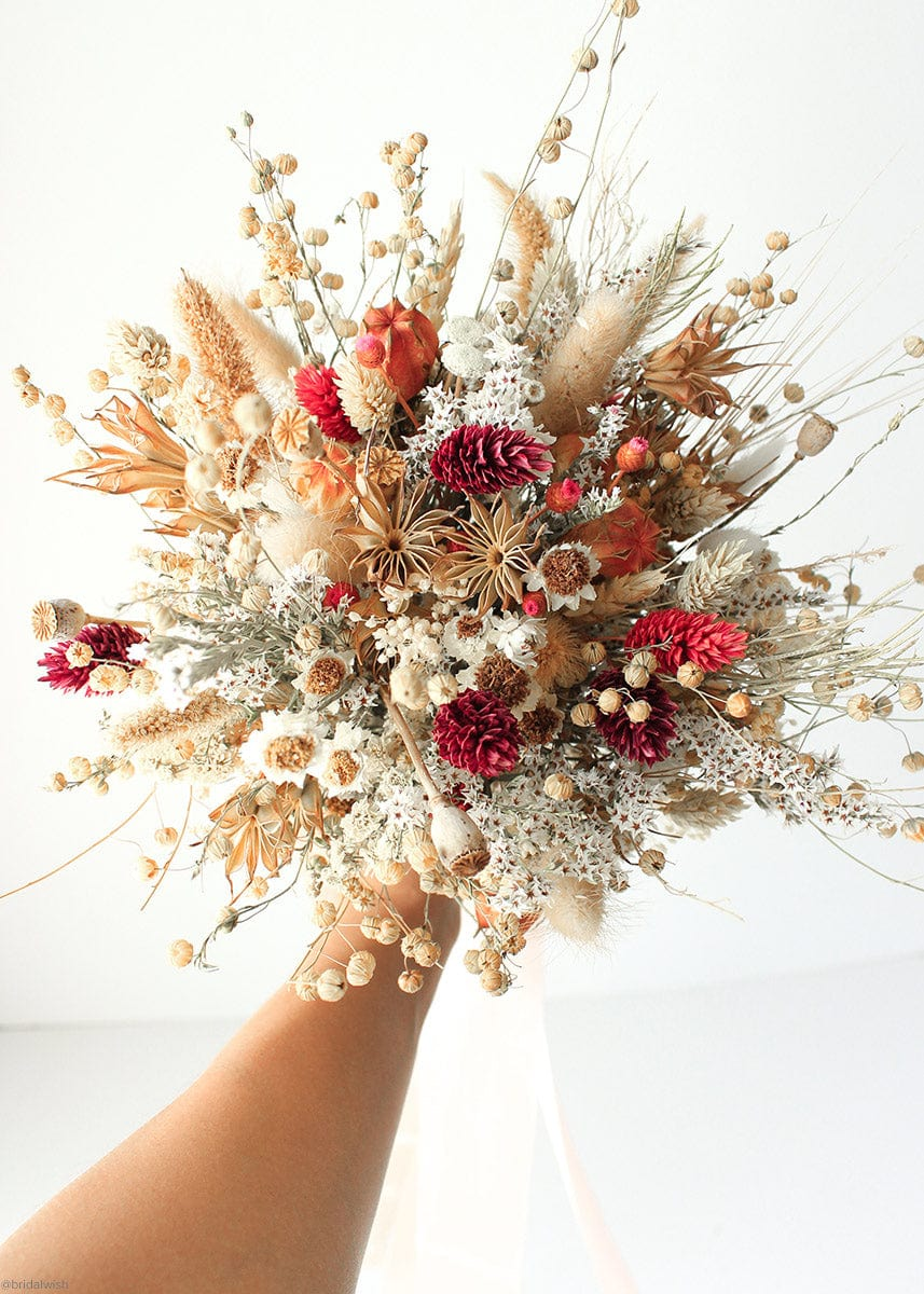 Red Phalaris Dried Flower Bouquet