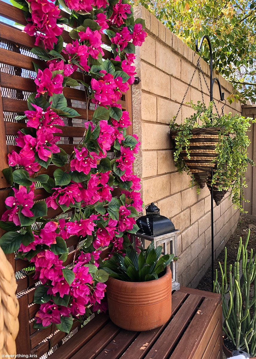 Outdoor Porch Decor with Pink Bougainvillea Fake Flowers Garland