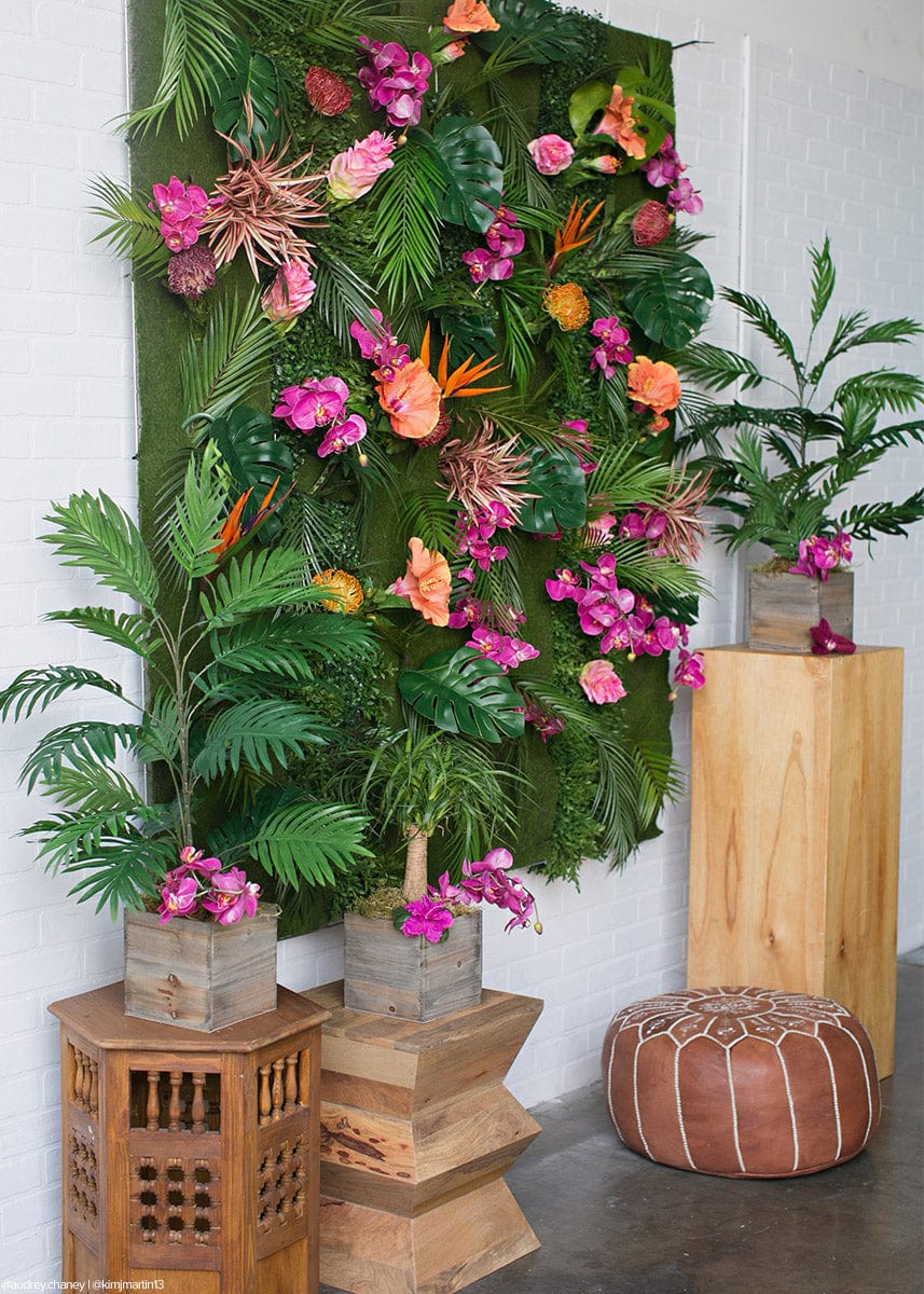 Tropical Flower Wall with Artificial Bird of Paradise