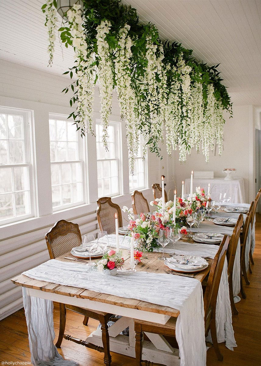 White Artificial Wisteria Hanging Flowers