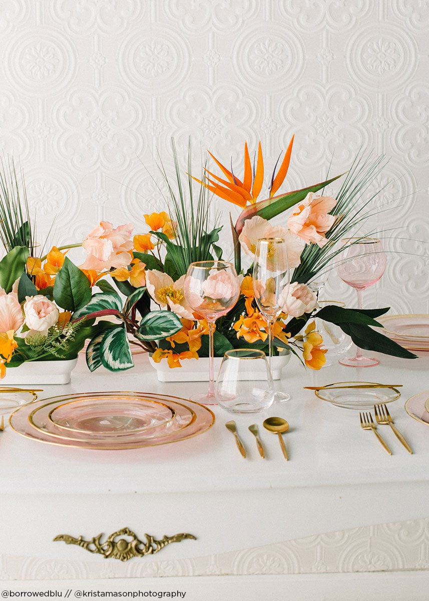 Tropical Wedding Centerpiece with Faux Bird of Paradise Flowers