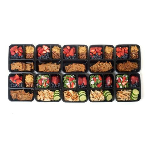 SET OF 10 - 3 COMPARTMENT FOOD STORAGE CONTAINERS STACKABLE WITH LIDS BPA FREE MICROWAVE, FREEZER AND DISHWASHER SAFE 50% OFF