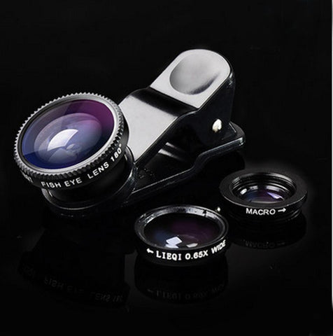 3in1 Fish Eye + Wide Angle Micro Lens Camera Kit for iPhone and Samsung