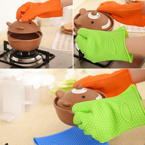 Heat Resistant Silicone Glove Cooking Baking BBQ Oven Pot Holder Mitt Kitchen Orange
