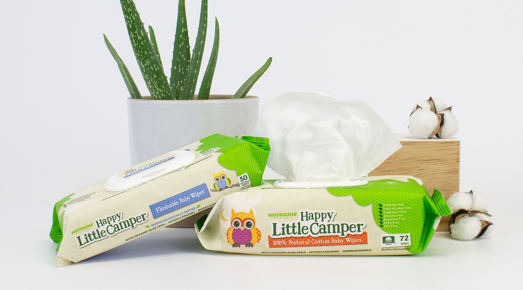 Happy Little Camper baby wipes with Aloe Vera Plant and Cotton Buds