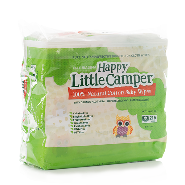 Happy Little Camper 100% natural cotton baby wipes 216 count