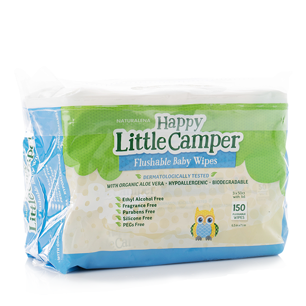Happy Little Camper flushable baby wipes 150 count