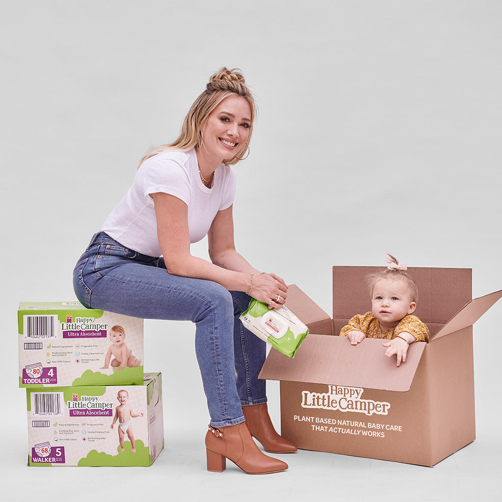 Hilary Duff with baby Banks in Happy Little Camper membership box