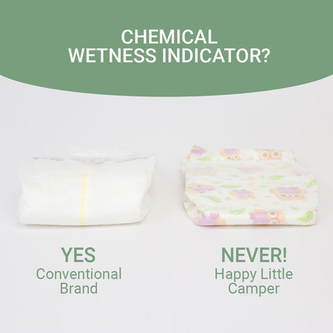 Happy Little Camper comparison with conventional diaper with wetness indicator strip