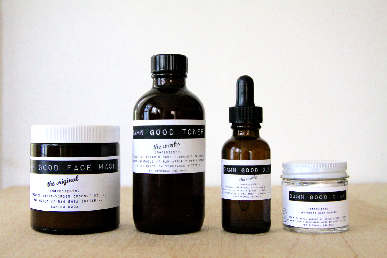 Damn Good Set: The Original Face Wash + Toner  + Oil + Clay