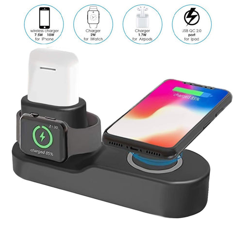 Power Charger - 4 In 1 Qi Wireless Charging Station Stand