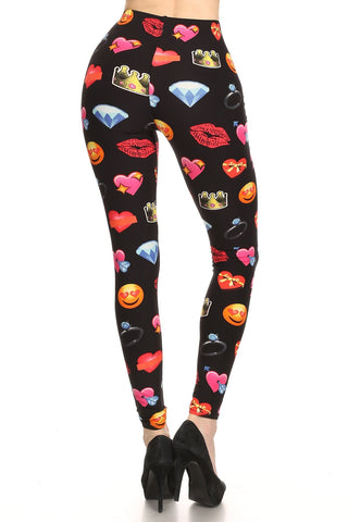 Women's Regular Emoji Heart Lips Pattern Printed Leggings