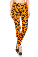 Women's PLUS Black Cats Animal Pattern Printed Leggings