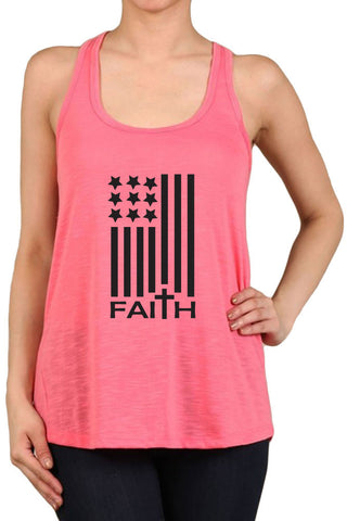 Women's Junior Fit American Flag Faith Tank Top for Regular and Plus-S~3XL