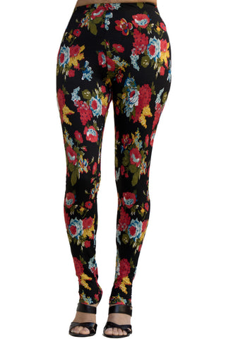 Women's Regular Big Floral Rose Leaf Print Leggings - Red Yellow