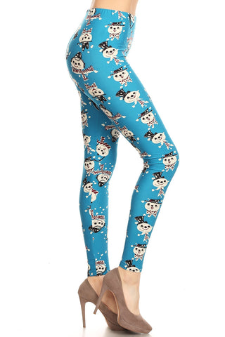 Women's Plus Snowman with Scarf Pattern Printed Leggings