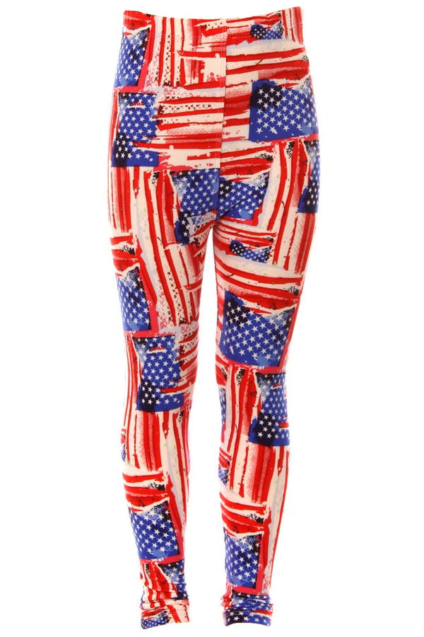 Kid's American Flag Distressed Look Pattern Printed Leggings