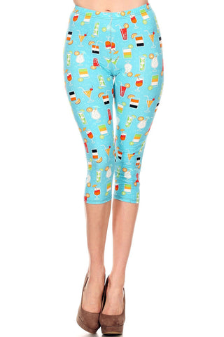 Women's Regular Colorful Cocktail Beverage Printed Cropped Capri Leggings