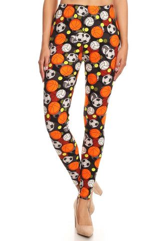 Women's 3 X 5X Sports Theme Pattern Printed Leggings
