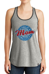 Women's World's Greatest Mom Graphic New Era Heritage Blend Racerback Tank Tops for Regular and Plus - XS ~ 4XL