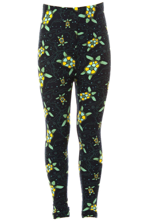 Kid's Colorful Sea Turtle Starfish Pattern Printed Leggings