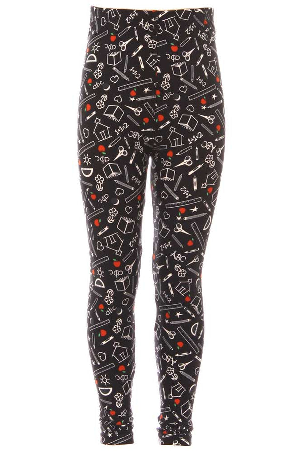 Kid's Colorful School Supplies Pattern Printed Leggings