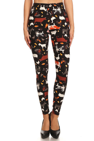 Women's Plus Animal Cow Lamb Pattern Printed Leggings