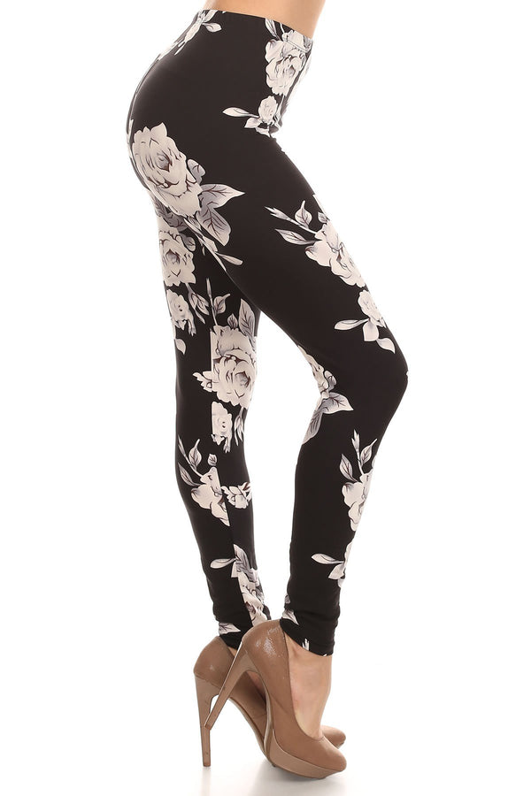 Women's 3 X 5X White Big Rose Floral Flower Pattern Printed Leggings