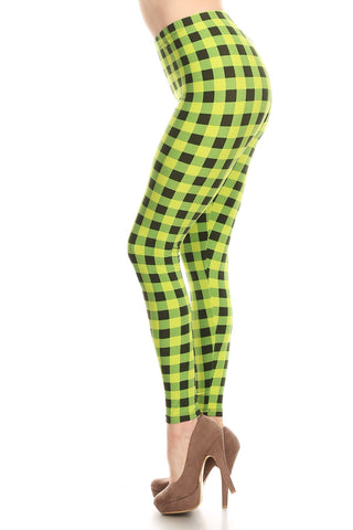 Women's Plus Lime Plaid Pattern Printed Leggings