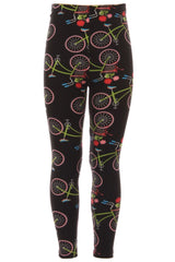 Kid's colorful Bicycle Flower Pattern Printed Leggings