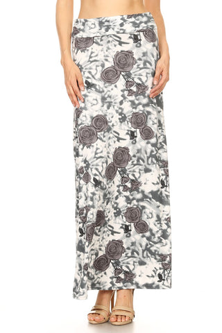 Women's Regular Beautiful Print Maxi Skirts - Grey Rose & Blur