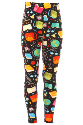 Kid's Colorful Back to School Pattern Printed Leggings