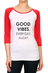 Women's Junior Size Good Vibes Fitted Baseball Raglan 3/4 Sleeve Tees