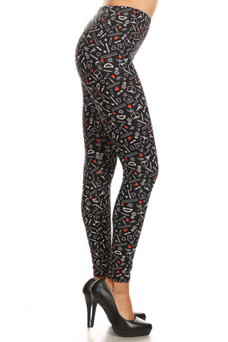 Women's Plus School Supplies Pattern Printed Leggings