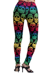 Women's Plus Neon Gradient Skull Pattern Leggings