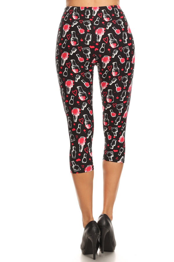 Women's Plus Nail Polish Heart Printed Cropped Capri Leggings