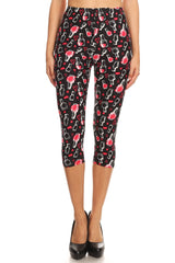 Women's Regular Nail Polish Heart Printed Cropped Capri Leggings
