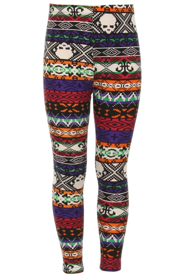 Kid's Skull & Mixed Ancient Pattern Printed Leggings