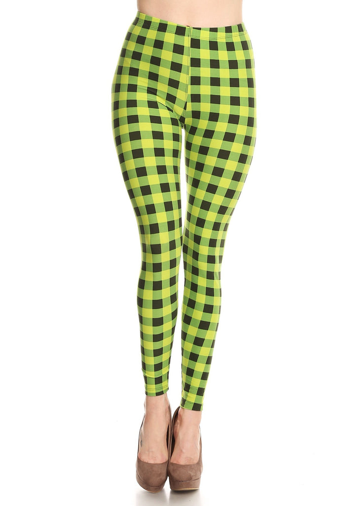 Women's Regular Lime Plaid Pattern Printed Leggings