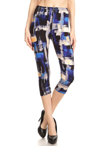 iZZYZX Women's Regular Blue Brush Stroke Printed Cropped Capri Leggings