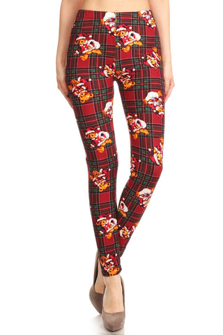 Women's Regular Christmas Santa Bear In Plaid Printed Leggings