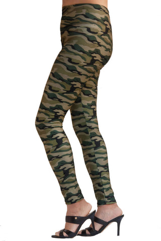 Women's Regular Brushed Camo Green Printed Leggings