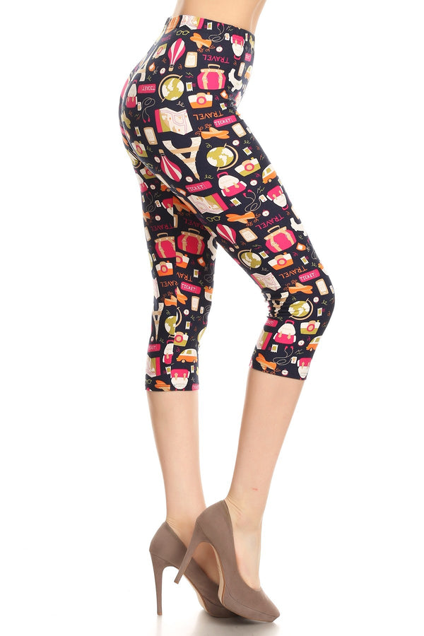 Women's Plus Colorful Travel Ticket Theme Printed Cropped Capri Leggings
