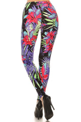 Women's Plus Abstract Big Petal Floral Pattern Printed Leggings - Pink Purple